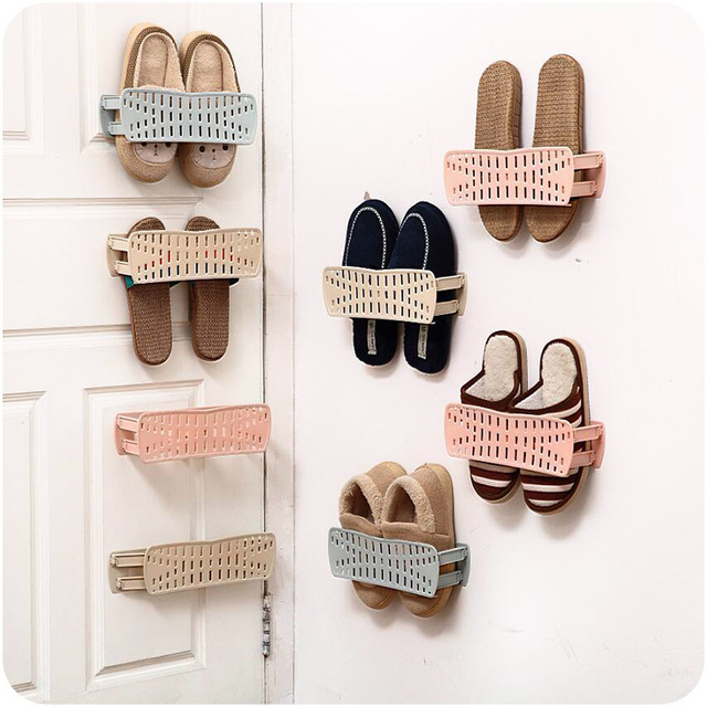 Home Shoes Storage Rack Fold Wall-mounted Paste PP Shoe Rack Bathroom Wall Flip Flop & Home Shoes Storage Rack Fold Wall mounted Paste PP Shoe Rack ...