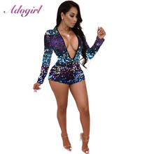 Adogirl ที่มีสีสัน Sequins Deep V คอ Playsuit ผู้หญิงเซ็กซี่แขนยาว Night Club PARTY Jumpsuit Casual Overalls Rompers