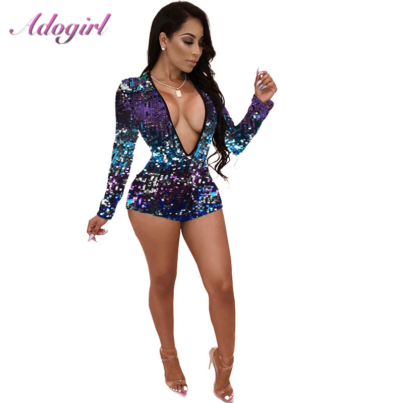 Adogirl Colorful Sequins Deep V Neck Playsuit Women Sexy Sheath Long Sleeve Night Club Party Jumpsuit Casual Overalls Rompers