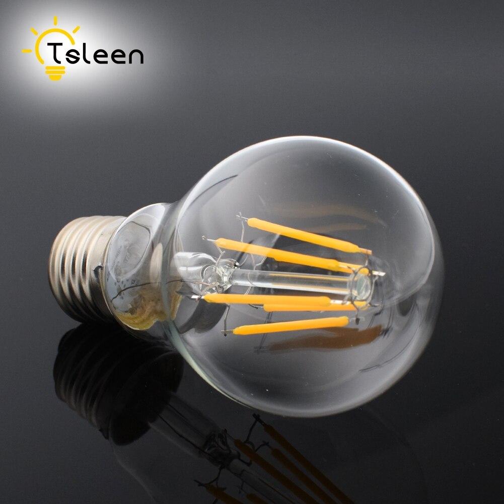 Tsleen E27 4/8/12/16W Retro Edison Filament COB LED Bulb Vintage Ball Light G45/A60/ST64 Lamps AC 110V/220V *10 PCS