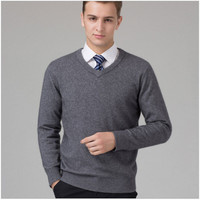 2017 spring men's v neck pure cashmere knitted pullover sweater DL1405