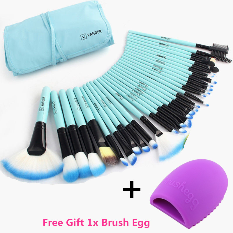 Vander Pro 32 Pcs Makeup Brushes Bag Blue Set Foundation Pinceaux Maquillage Cosmetics Brush Tools Kits + Cleaning Egg Brushegg смартфон highscreen fest xl pro blue