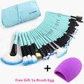 Vander Pro 32 Pcs Pincéis de Maquiagem Conjunto de Saco Azul Fundação Ferramentas de Cosméticos Escova Maquillage Pinceaux Kits + Limpeza Ovo Brushegg