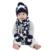 Niños de punto sombrero bufanda y guantes conjunto niños nuevo invierno 2016 cabritos de la manera azul marino estampado de estrellas 3 unidades establece navidad regalo