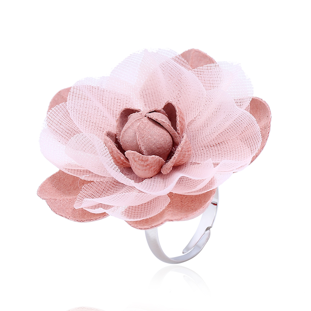2018 Fashion Cute Romantic Style Stainless Steel Rings For Women Fabric Gray Big Flower Ring Engagement Ring Christmas Jewelry