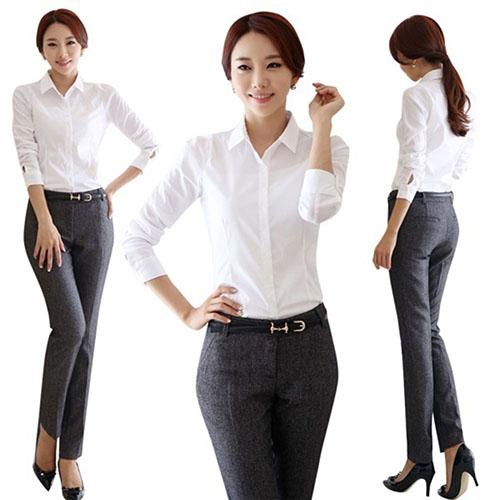 Women Fashion Office Lady OL Shirt Working Business Nursing Career Top Blouse Femmes camisa chemise camicia Mujer maschi Clothes