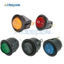 AC 250V 6A 125V 10A Mini 3 Pin Светодиодный светильник выключатель автомобиля Лодка Круглый Рокер ON/выкл кнопка переключения переключатель синего, желтого, красного, зеленого и черного цвета для девочек
