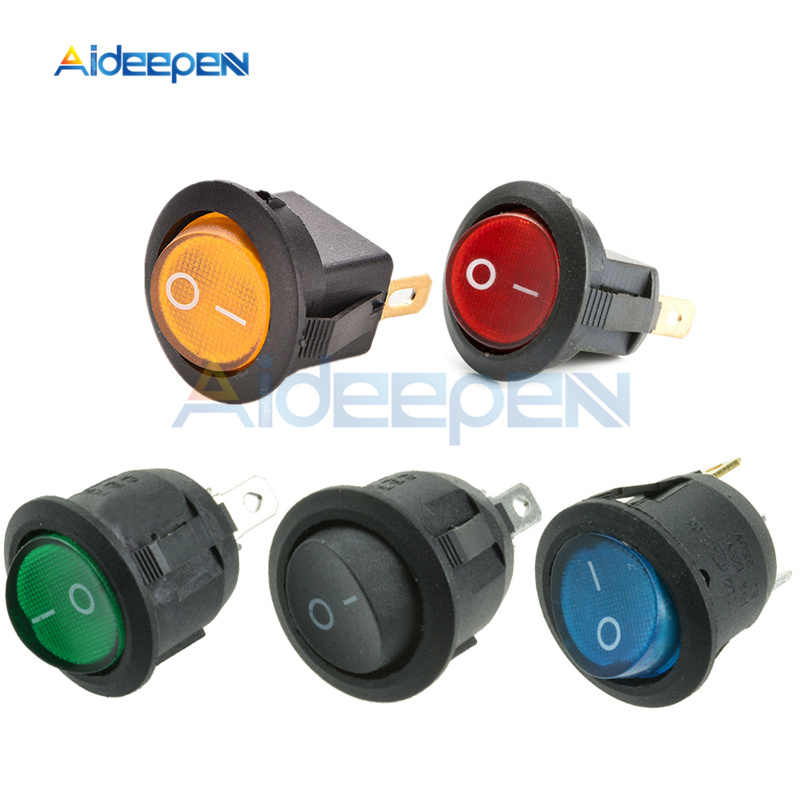 AC 250V 6A 125V 10A Mini 3 Pin LED Light Switch Car Boat Round Rocker ON/OFF Toggle Button Switch Blue Yellow Red Green Black