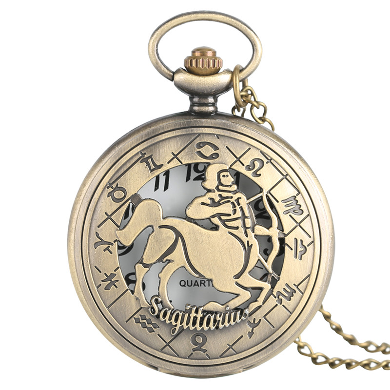 Sagittarius Pendant Pocket Watch Half Hunter Men Bronze Quartz Watches Cool Copper Constellations Clock Gift Bag old antique bronze doctor who theme quartz pendant pocket watch with chain necklace free shipping