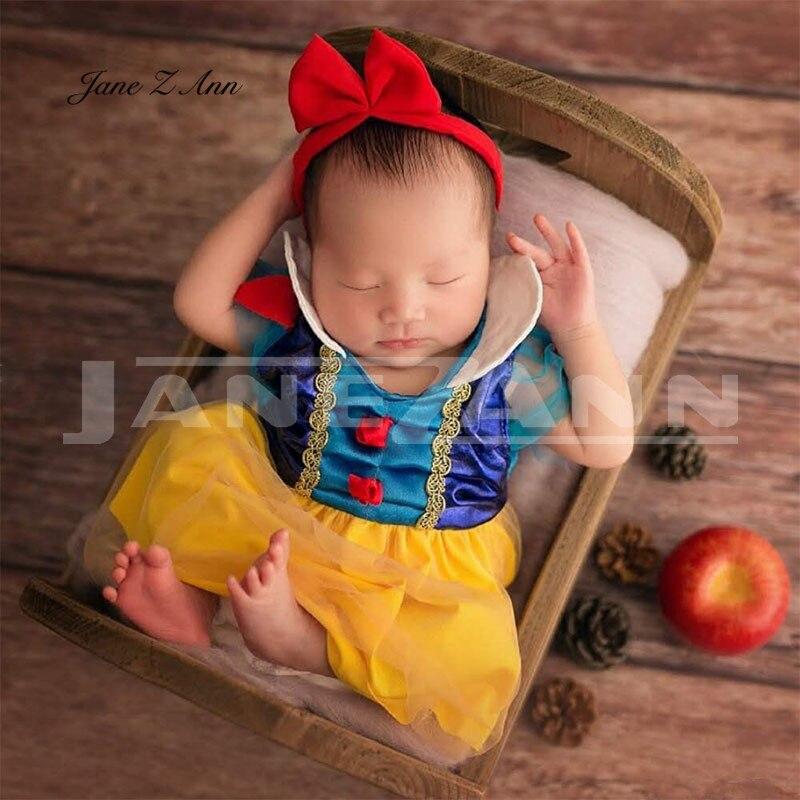 Jane Z Ann Neugeborenen Baby Fotografie Requisiten Fotografia Prinzessin Schnee Weiß Kleid + Headwear Cosplay Kostüm Studio Schießen Foto Requisiten