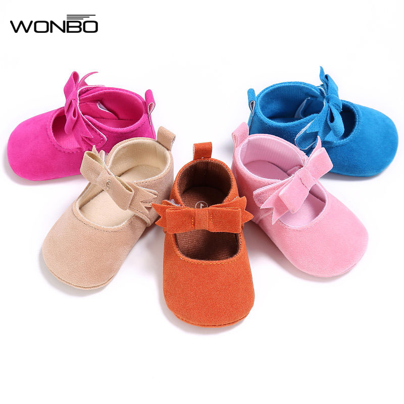 WONBO Baby Girl Shoes PU Suede Moccasins Spring Autumn Shoe Princess Mary Jane Shoes First Walkers Crib Bebe Prewalkers