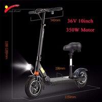 JS 36 В 350 Вт 10 дюймов внедорожных Электрический скутер мощный бесщеточный двигатель складной подходит для унисекс литиевая батарея Koowheel
