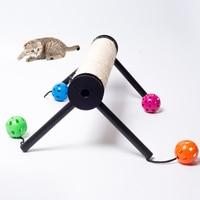1PCS Cat Toy Cat Scratch Board Small Cat Climbing Frame Cat Rack Sisal Hemp Claw Cat Grab Pole Platform Pet Products Bell Ball
