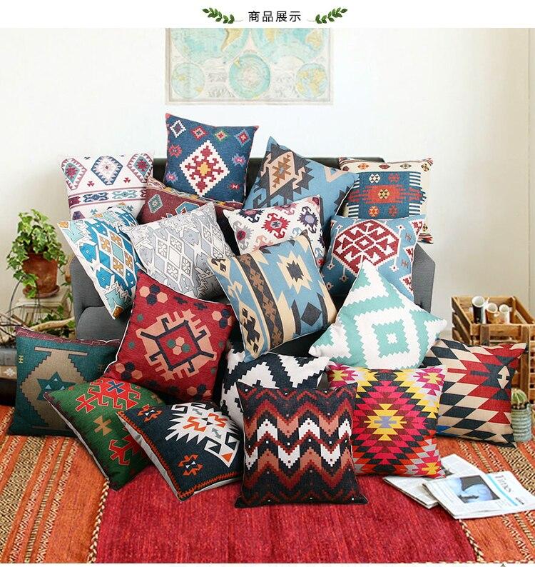 Pillow Case  Geometric Pillowcase Cotton Linen Ethnic Pillow Cover Bedroom Car Home Sofa Decorative  Pillows