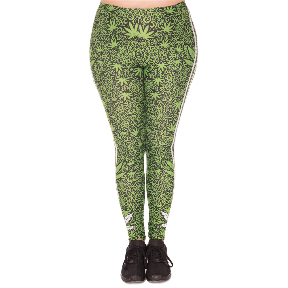 FCCEXIO VIP gran tamaño Leggings hierbas rayas Blanco estampado Sexy Fitness polainas alta cintura elástica cintura polainas para Plump de las mujeres