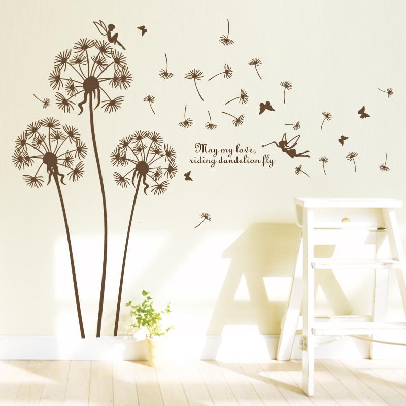 ⊰Paardebloem Muurstickers woonkamer slaapkamer romantische decor ...