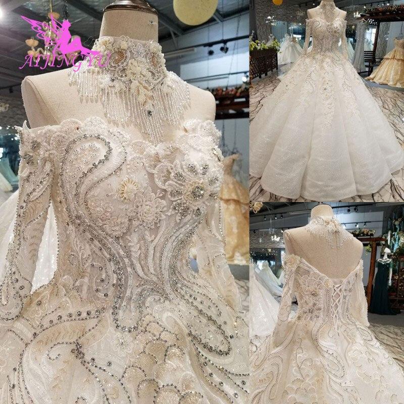 AIJINGYU robes de mariée brésil Toast mariée suède Cheaps remise robe de mariée princesse robe de mariée à manches longues