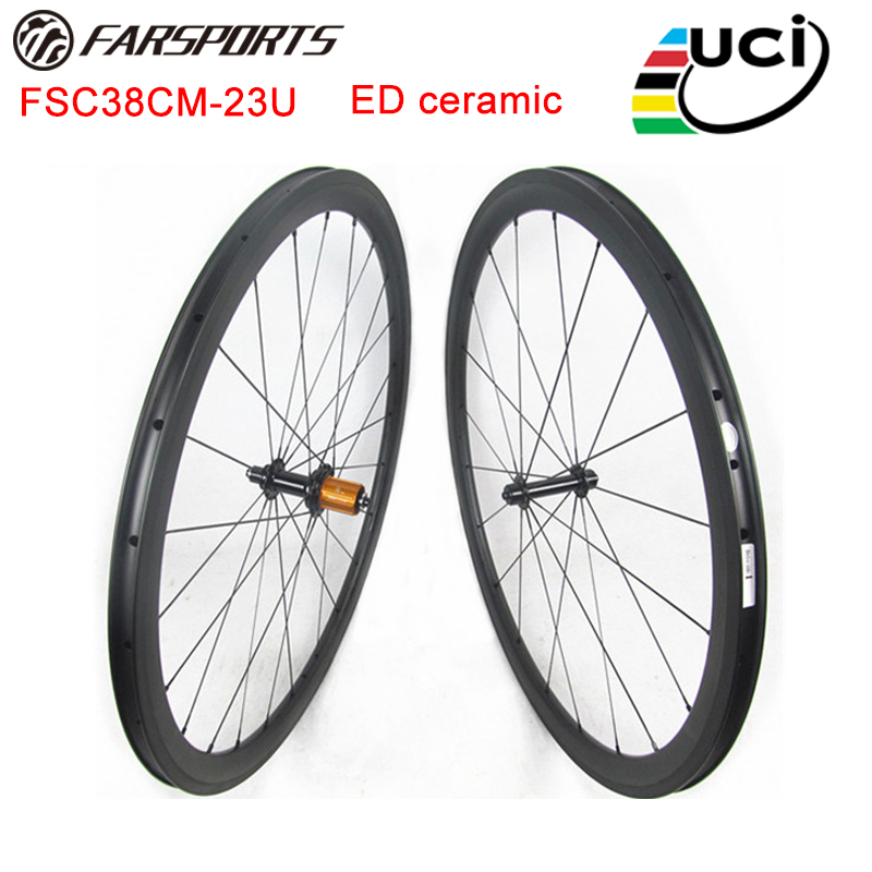 Ceramic carbon wheelsets 38mm 23mm 25mm clincher rims, high TG braking track 4 degree design road bicycle wheelsets 700C