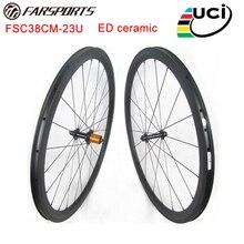 Ceramic carbon wheelsets 38mm 23mm 25mm clincher rims, high TG braking track 4 degree design road bicycle wheelsets 700C