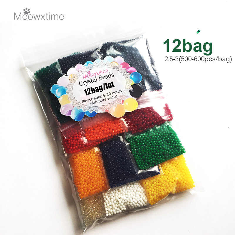 12bags/lot Pearl Shape 2.5-3mm Crystal Soil Mud Orbiz Growing Bulbs Hydrogel Gel Growing Water Balls Water Beads 2.5-3mm