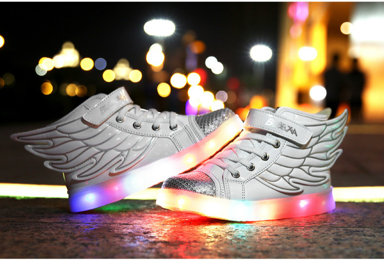 Boys Girls Led Light Wings Shoes for Children Fashion Kids Usb Charging Luminous Sneakers Autumn Winter Glowing Shoes joyyou brand usb children boys girls glowing luminous sneakers teenage baby kids shoes with light up led wing school footwear