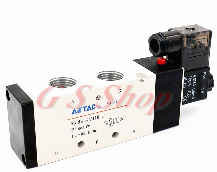 1Pcs 4V410-15 DC12V 5Ports 2Position Single Solenoid Pneumatic Air Valve 1/2