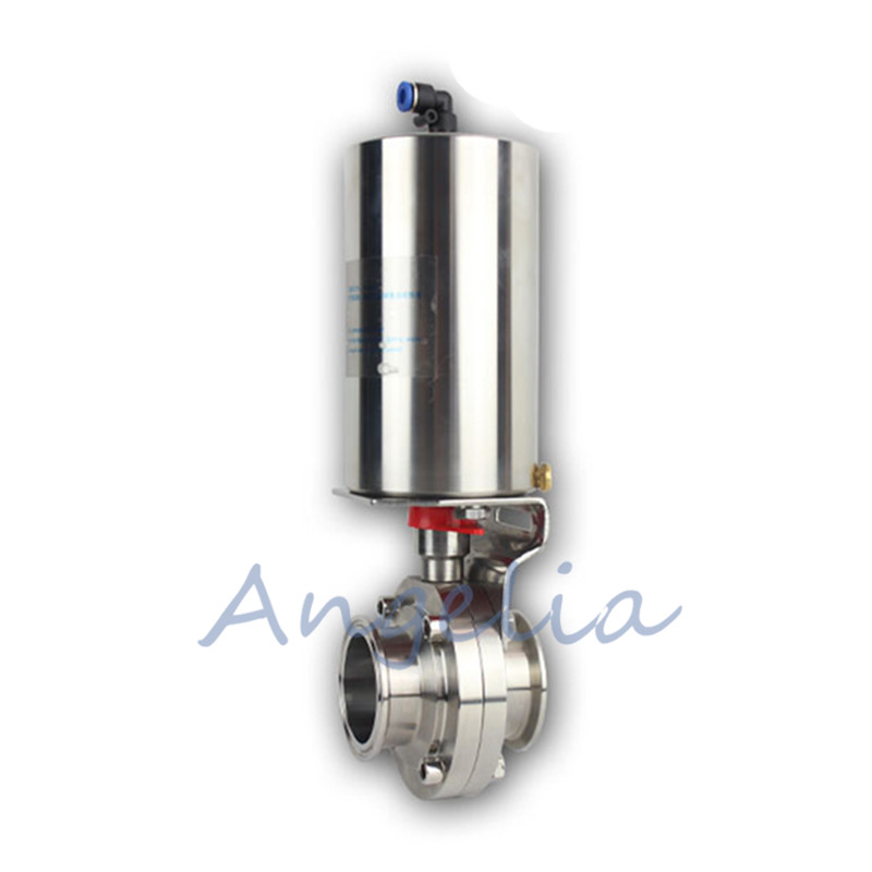 1-1/2 Pneumatic Sanitary Butterfly Valve Stainless Steel 304 Tri Clamp Actuator Single Acting цена