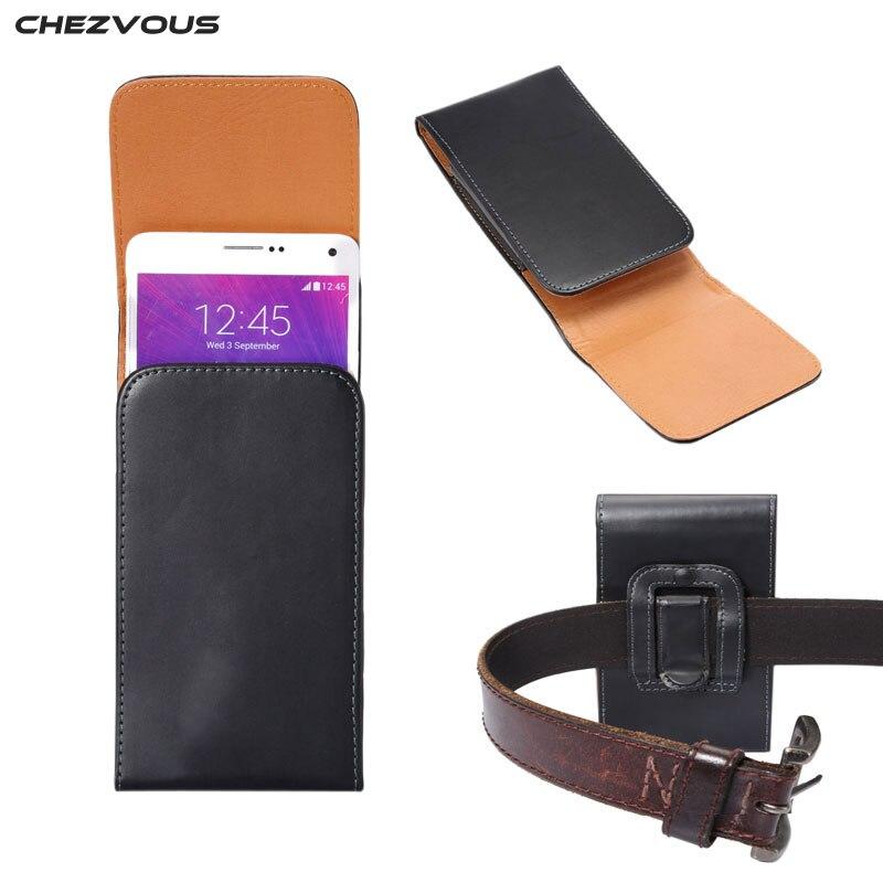 1da95c92b8a Nuevo clip de cinturón Funda de cuero PU para Samsung Nota 5 4/S6 Edge  +/Galaxy A8 universal ajuste para abajo 5.7 ''teléfono celular cubierta