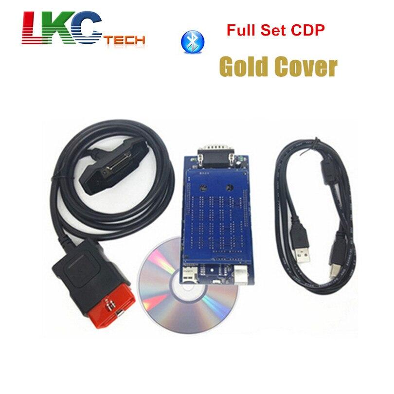 Цена за Заводская цена золота Корпус CDP PRO инструмент диагностики 2015 R1 новейшая версия Бесплатная активировать новый VCI TCS CDP PRO сканер + Bluetooth