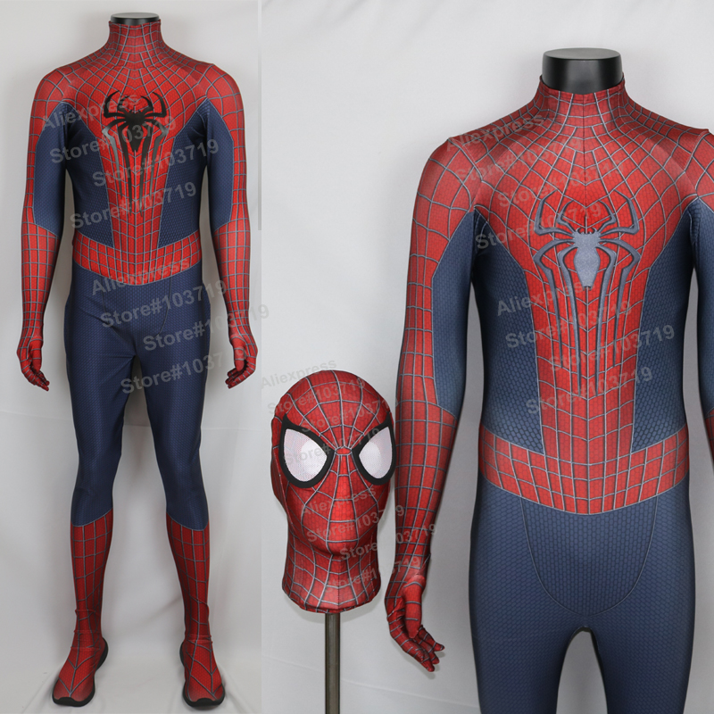 Hero CatcherHigh Quality New Amazing Spiderman font b Suit b font 3D Printing Spiderman Cosplay Costume