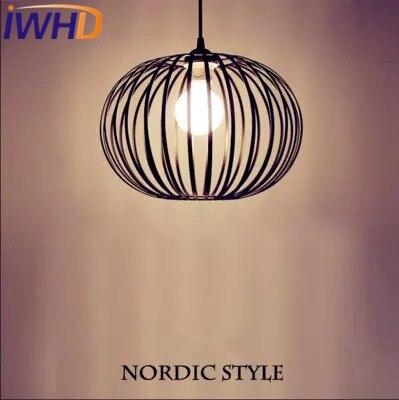 IWHD Nordic StyIe Iron Led Pendant Lights Modern Fashion Black Cage Pendant Light Fixtures Home Lighting Suspendsion Luminaire IWHD Nordic StyIe Iron Led Pendant Lights Modern Fashion Black Cage Pendant Light Fixtures Home Lighting Suspendsion Luminaire