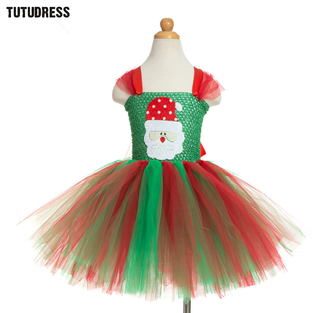 Kids girls christmas tutu dress claus santa pattern - Trajes para navidad ninos ...