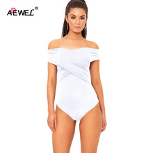 SEBOWEL 2017 Cross Off Shoulder Bodysuit Women Rompers Club Wear Mini Body Playsuit Bodycon Jumpsuit Overalls