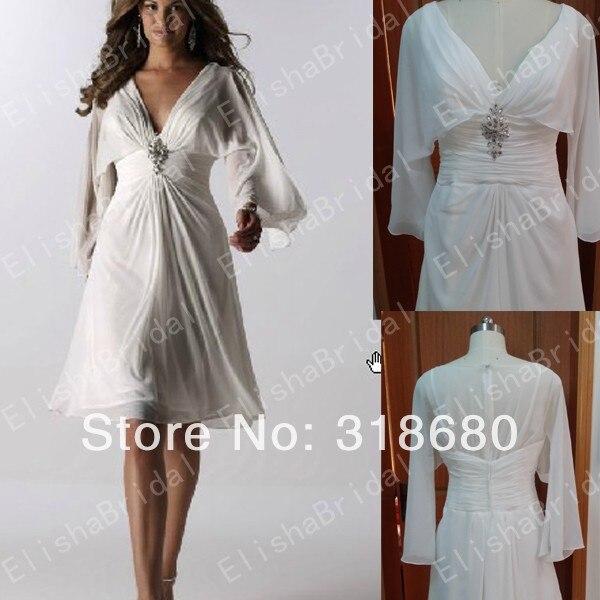 Short V neckline Ruched Waistline Chiffon White Knee Length Wedding ...
