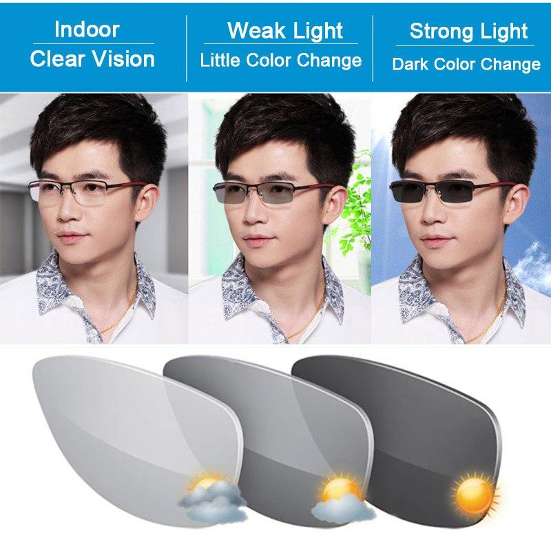 1.67 verres de Prescription optiques photochromiques à Vision unique sensibles à la lumière effet changeant de couleur gris et brun rapide et profond