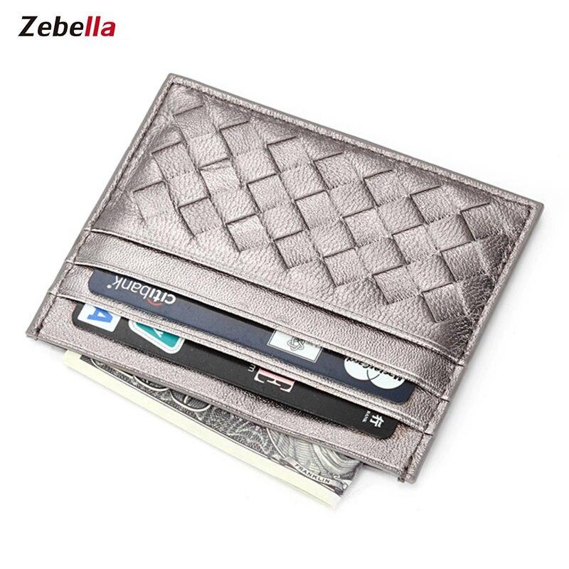 Zebella Card Holder Women Genuine Leather 100% Sheepskin Men Credit Card Organizer Slim ID Card Coins Case Business Women Purse