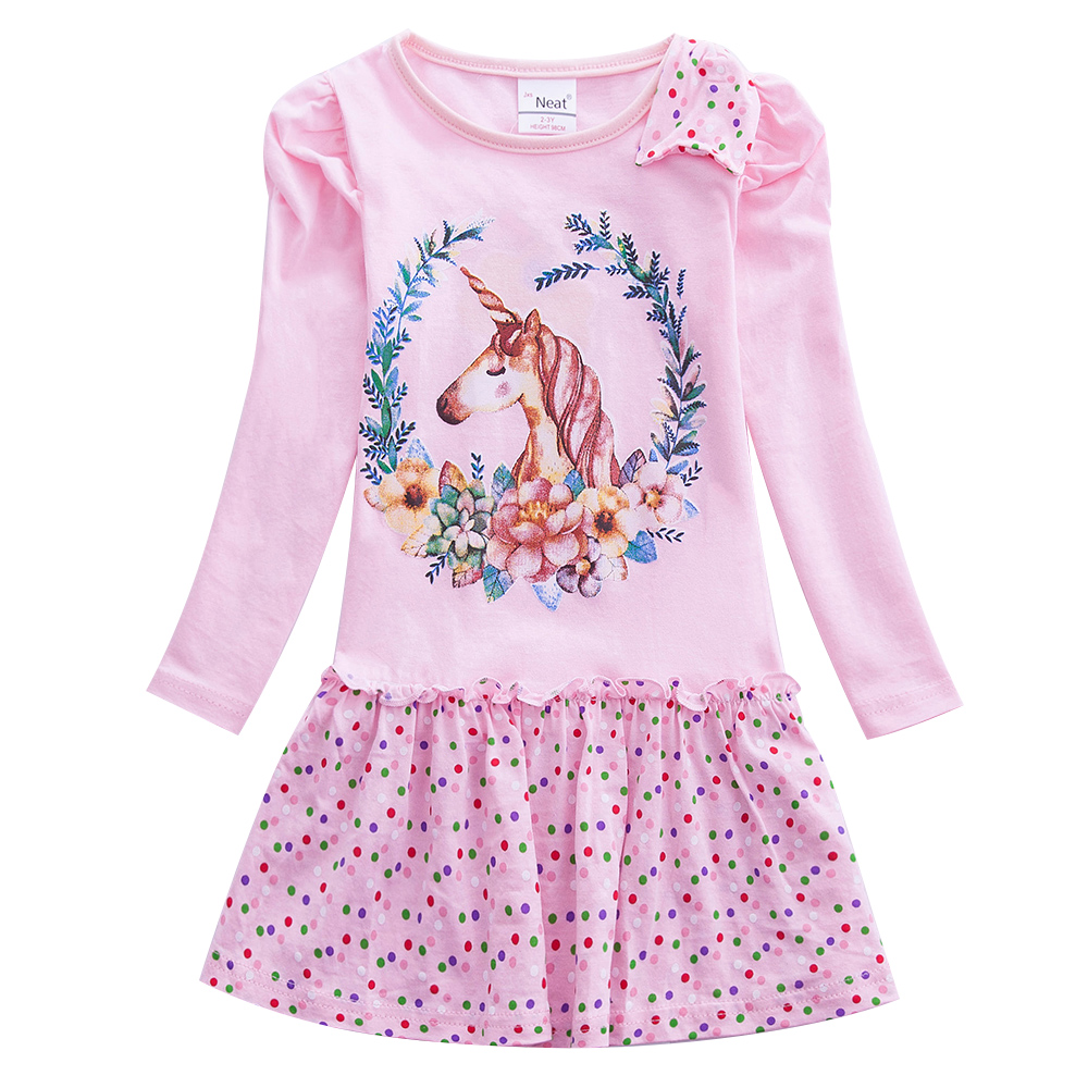 Girl Cartoon Long Sleeve Dress Unicorn Girl Baby Wearing Cotton Embroidery Figure Child Wearing Dress Autumn Dress LH3660