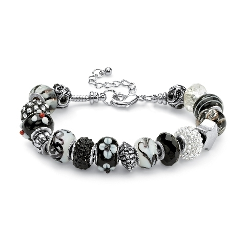 PalmBeach Jewelry 52166 Round Black and White Crystal Silvertone Metal Bali-Style Beaded Charm and Spacer Bracelet 8'' stylish union flag red white and blue beaded bracelet