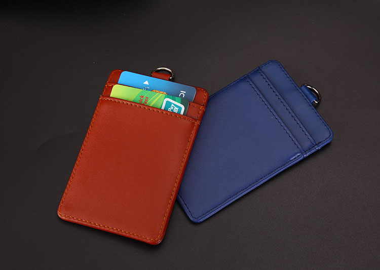 2018 New Vertical High Quality Second Leather ID Badge Case with Lanyard Color Border Bank Credit Card Holders ID Badge Holders new transparent id card holders and certificates case for admission quality pvc card badge holder work id cover without lanyard