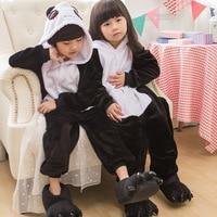 2018 New Kids Kigurumi Panda Pajamas Cosplay Costumes Flannel Animal Onesie Sleepwear Stitch Unicorn Pikachu Boys