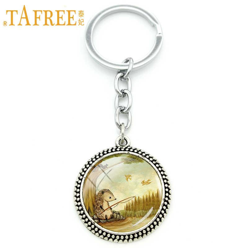 TAFREE ежик брелок для ключей на цепочке Женская пара полная подвеска любовь для ручной работы модный брелок круглая бижутерия со стеклянными кабошонами H254