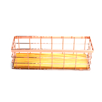 Rose Golden Office School Supplies Desk Accessories Organizer Small File Tray Iron Holder Mesh Wire with Wood Bottom