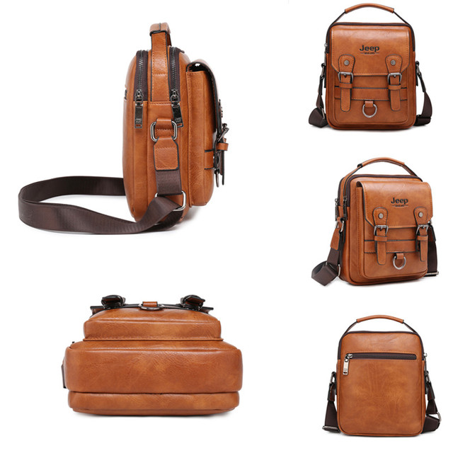 JEEP BULUO Multi-function Men Handbags New Man's Crossbody Shoulder Bag Large Capacity Leather Messenger Bag For Man Travel Cool 5