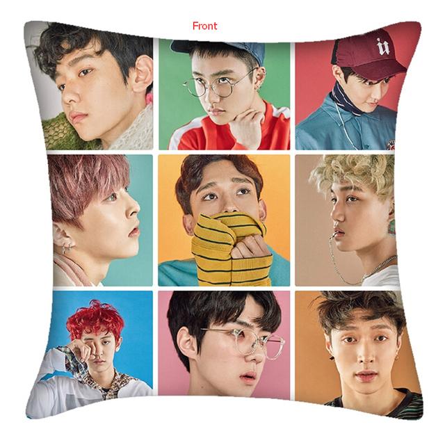 Kpop EXO Ulzzang estilo suave X-ACTO álbum Lay bolster pillow Sehun Baekhyun Chanyeol Kai Chen Xiumin Suho k pop k-pop bts got7
