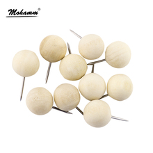 10 Pcs pack Round Wood Thumb Tack Japanese Creative Decorative Drawing Cork Board School Pin Broches