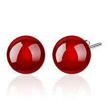 Natural Stone Stud Earrings Black Red Created Diamond Earrings Female Jewelry Korean New Silver Ball Stud Earrings for Women