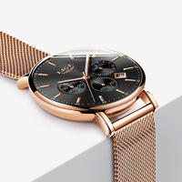 New LIGE Mens Watches Top Brand Luxury Fashion Ultra Thin Quartz Watch Men Moon Phase Business Clock Sport Waterproof Relojes