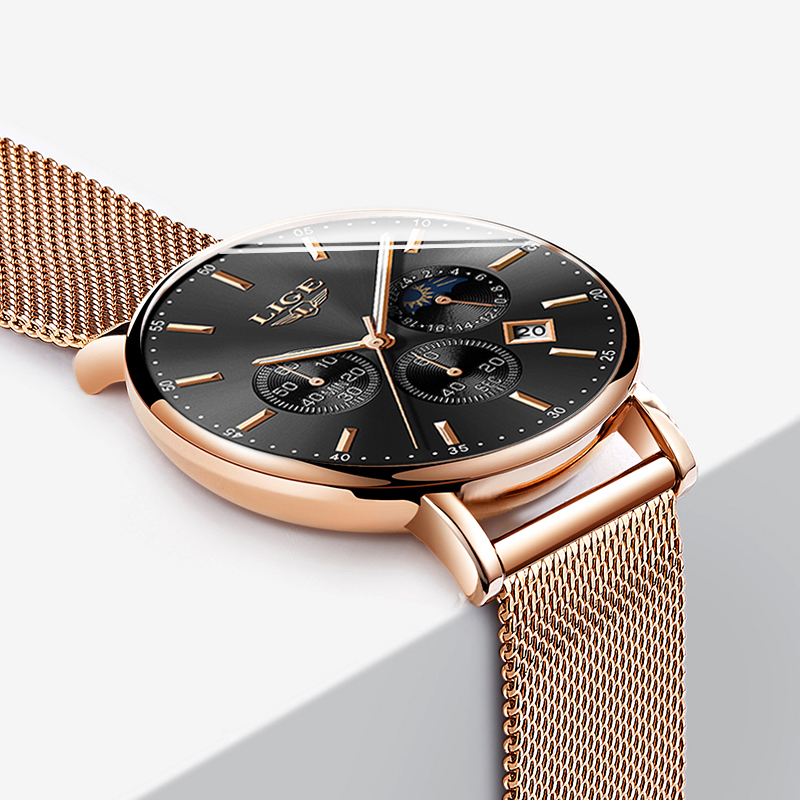 Nouveau LIGE Hommes Montres Top Marque De Luxe De Mode Ultra Mince Montre À Quartz Hommes Lune Phase D'affaires Horloge Sport Étanche Relojes