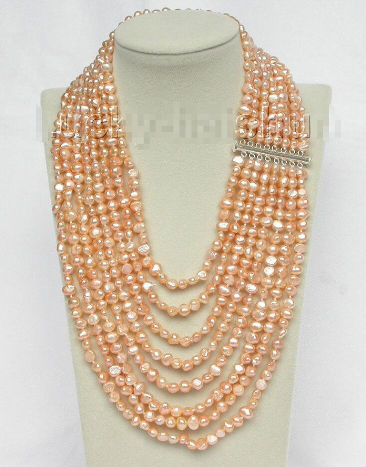 hot sell new Hot sale new Style >>>>>Genuine 17 24 8row baroque pink pearls necklace 925 silver clasp j8757