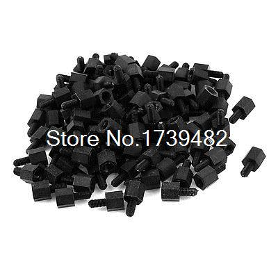 M3 6+6mm Male Female Thread Nylon Hex Standoff Spacer Screws PCB Pillar 100pcs m3 spacer hex standoff pcb hex nuts nylon black pillar female to female